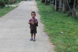 Cute little boy along the road.