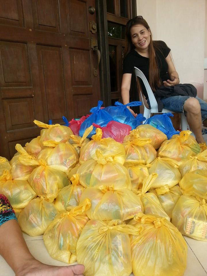 We distributed relief goods for our neighbors.