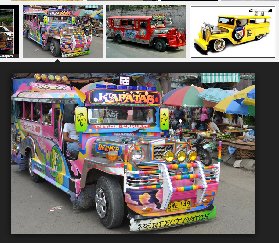 Colorful vehicle that can fit 22 to 40 people.